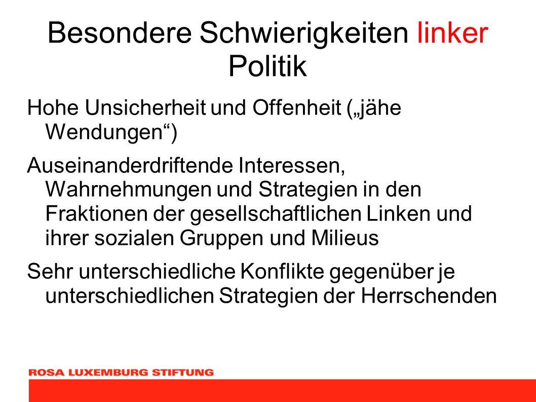 Besondere Schwierigkeiten linker Politik