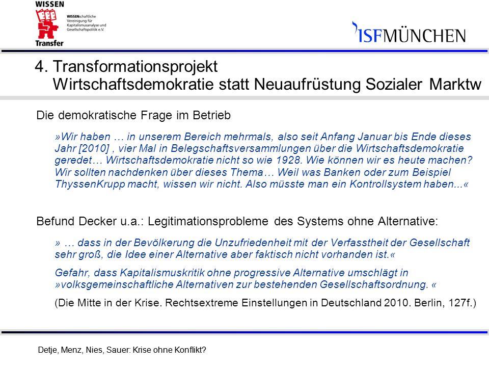 4. Transformationsprojekt Wirtschaftsdemokratie statt Neuaufrüstung Sozialer Marktw