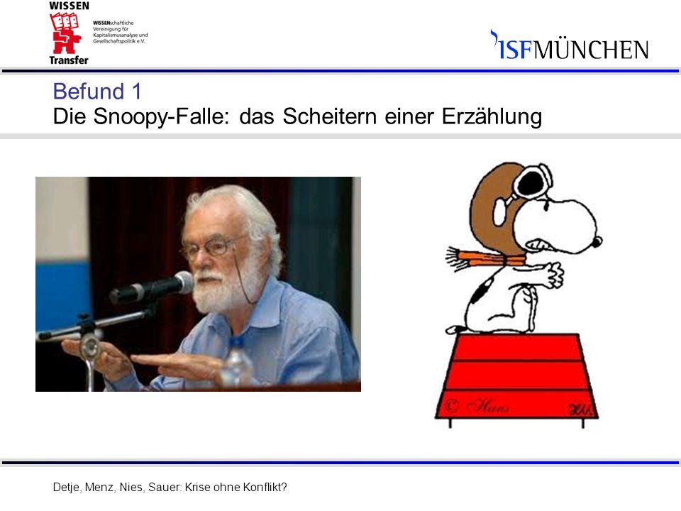 Befund 1 Die Snoopy-Falle: das Scheitern einer Erzählung