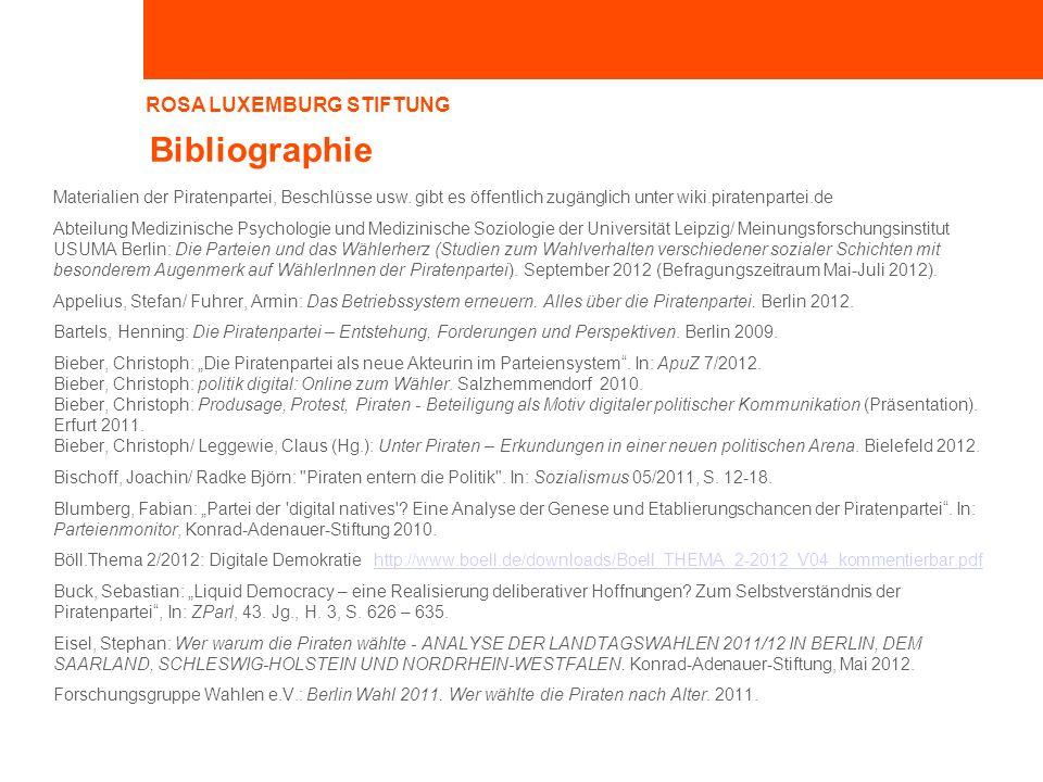 Bibliographie Materialien der Piratenpartei, Beschlüsse usw. gibt es öffentlich zugänglich unter wiki.piratenpartei.de.