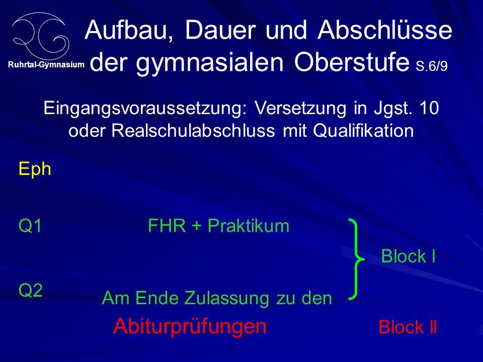 Aufbau, Dauer und Abschlüsse der gymnasialen Oberstufe S.6/9