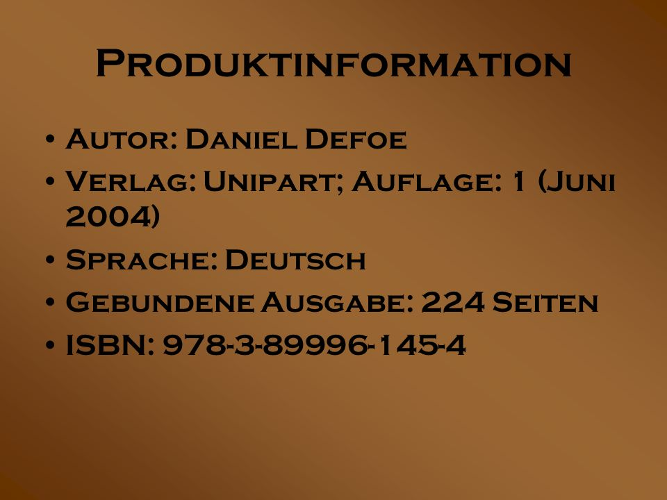 Produktinformation Autor: Daniel Defoe
