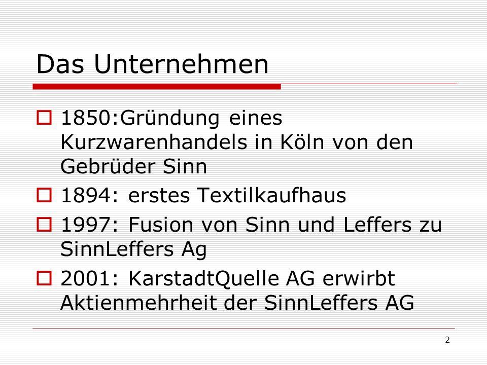 Das Unternehmen 1850:Gründung eines Kurzwarenhandels in Köln von den Gebrüder Sinn. 1894: erstes Textilkaufhaus.