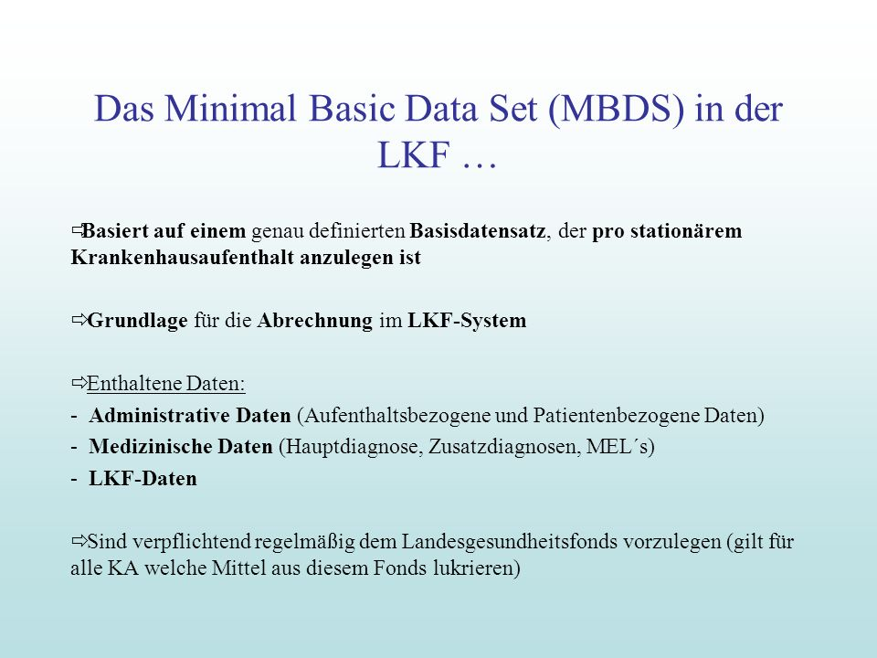 Das Minimal Basic Data Set (MBDS) in der LKF …