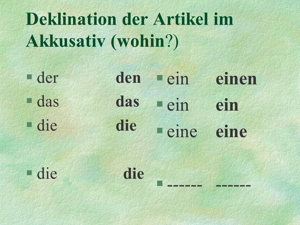 Deklination der Artikel im Akkusativ (wohin )