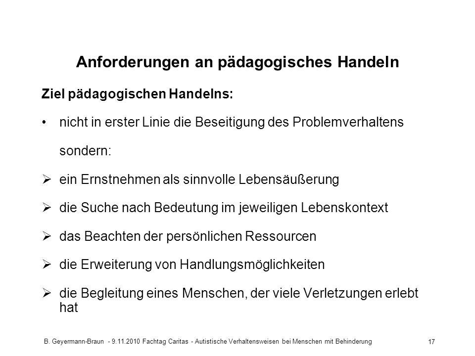 Anforderungen an pädagogisches Handeln
