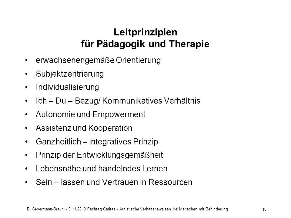 Leitprinzipien für Pädagogik und Therapie