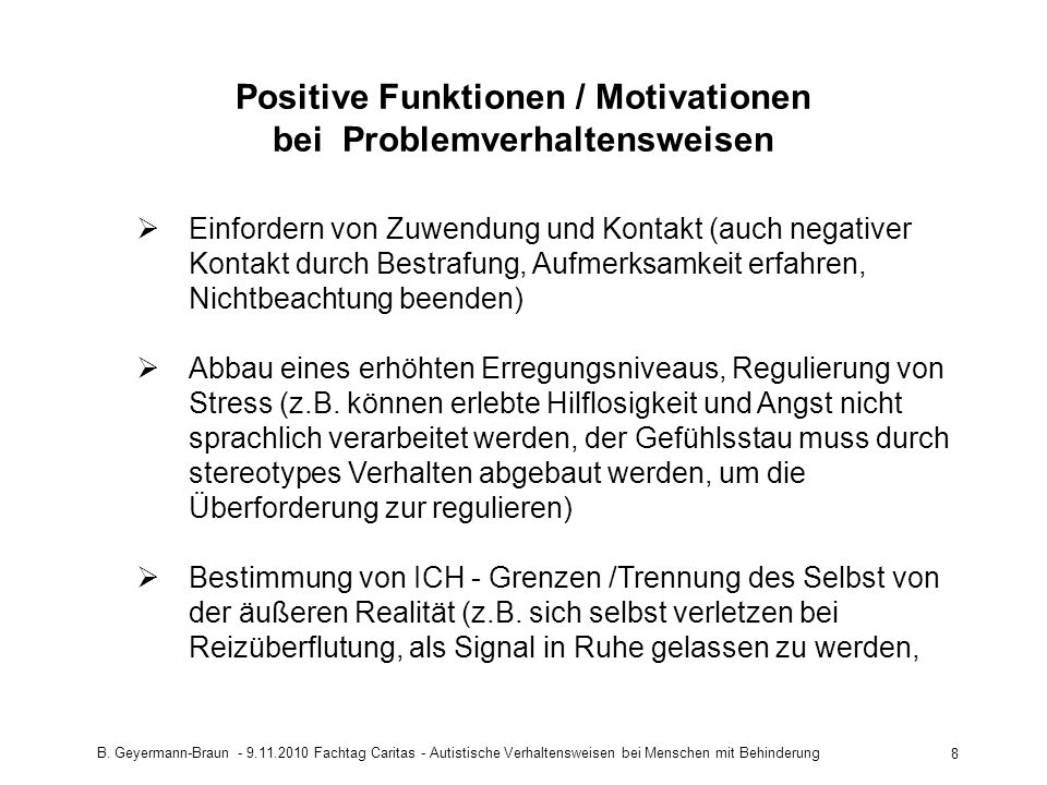 Positive Funktionen / Motivationen bei Problemverhaltensweisen