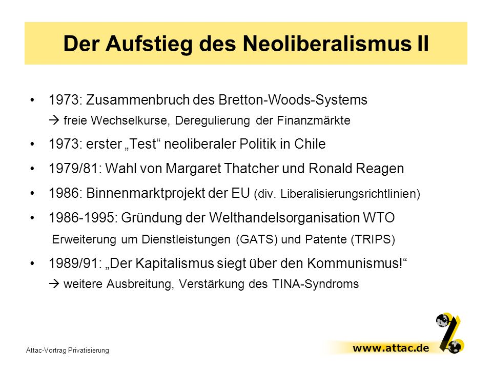 Der Aufstieg des Neoliberalismus II