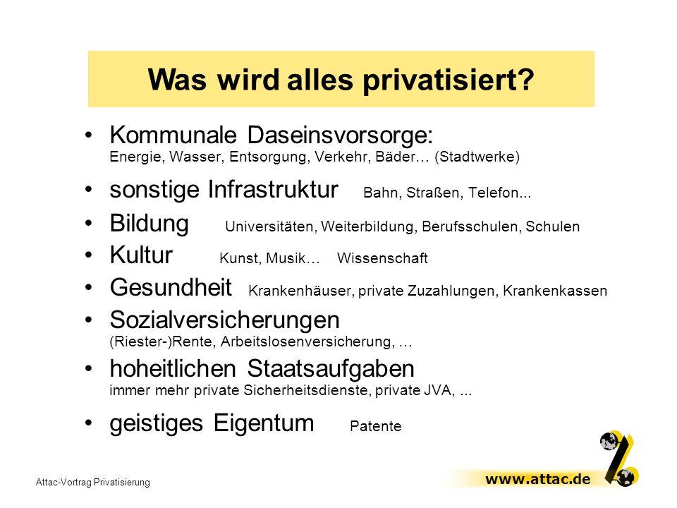 Was wird alles privatisiert