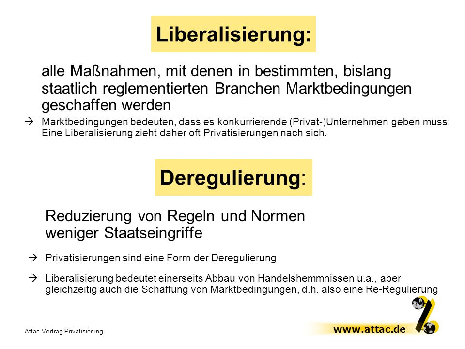 Liberalisierung: Deregulierung: