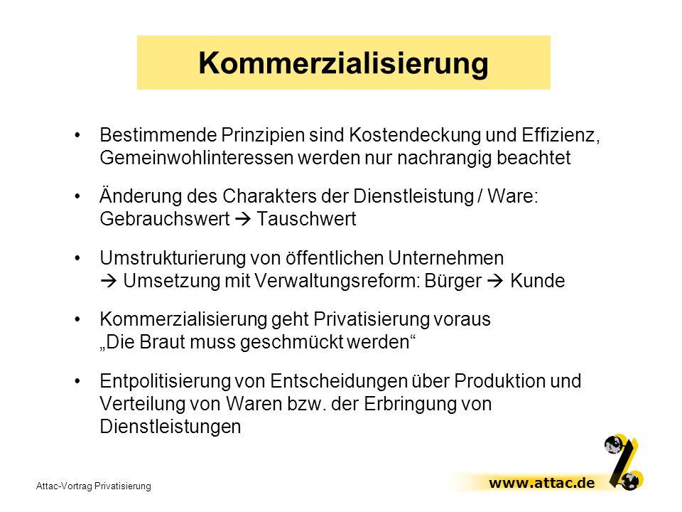 Kommerzialisierung Bestimmende Prinzipien sind Kostendeckung und Effizienz, Gemeinwohlinteressen werden nur nachrangig beachtet.