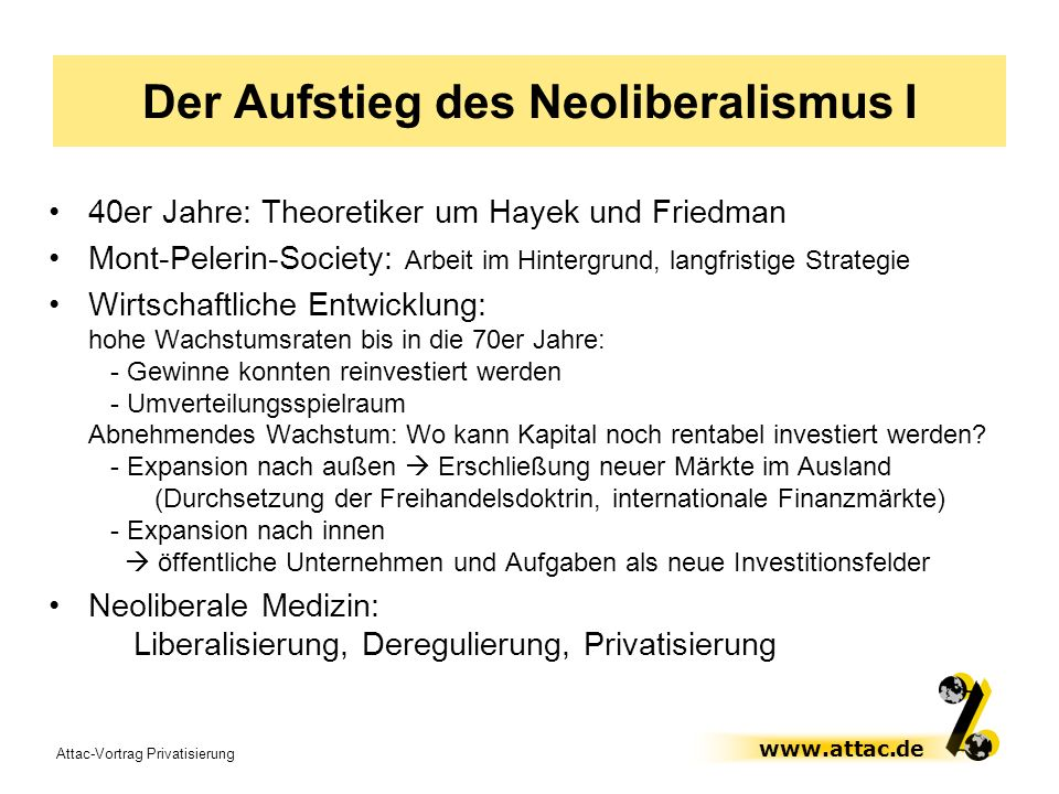 Der Aufstieg des Neoliberalismus I