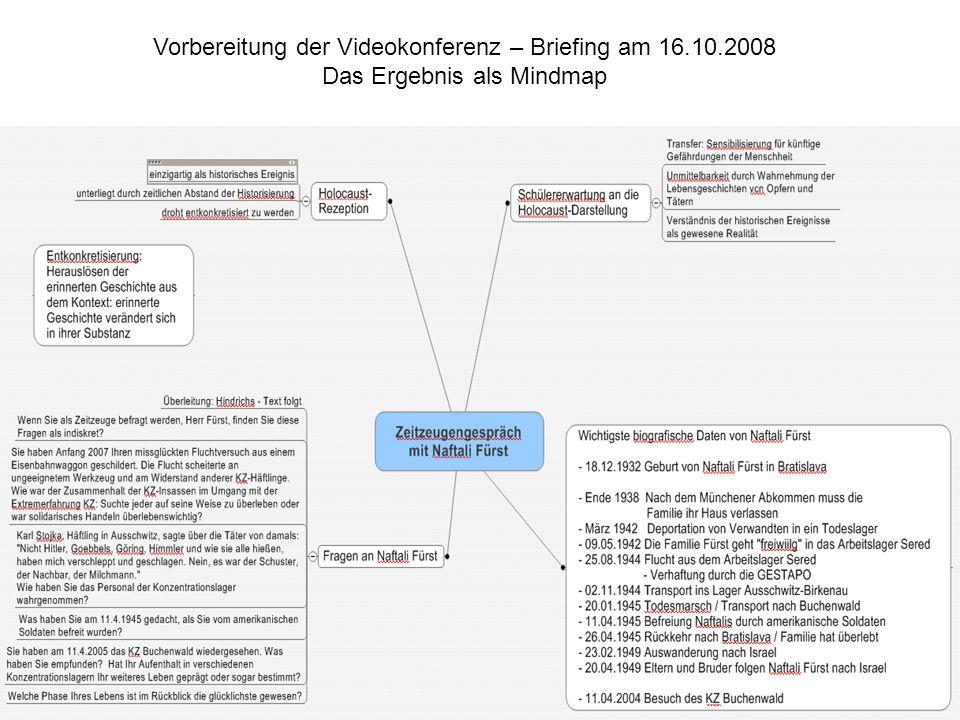 Vorbereitung der Videokonferenz – Briefing am 16. 10