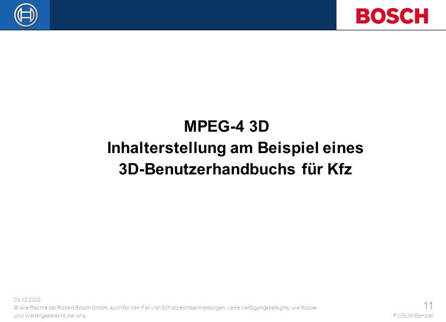 MPEG-4 3D Inhalterstellung am Beispiel eines 3D-Benutzerhandbuchs für Kfz