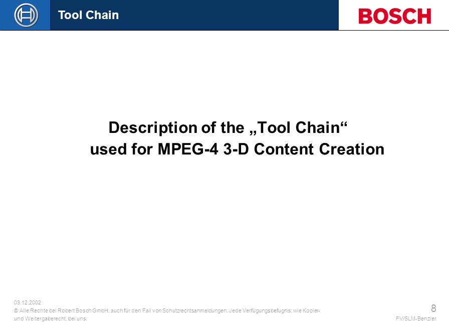"Description of the ""Tool Chain used for MPEG-4 3-D Content Creation"