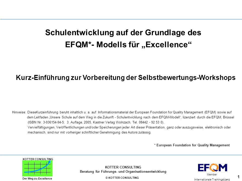 """Schulentwicklung auf der Grundlage des EFQM*- Modells für """"Excellence"""