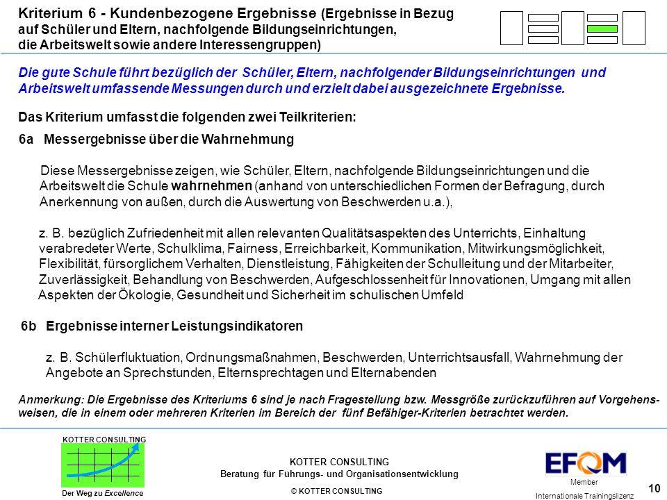 Kriterium 6 - Kundenbezogene Ergebnisse (Ergebnisse in Bezug
