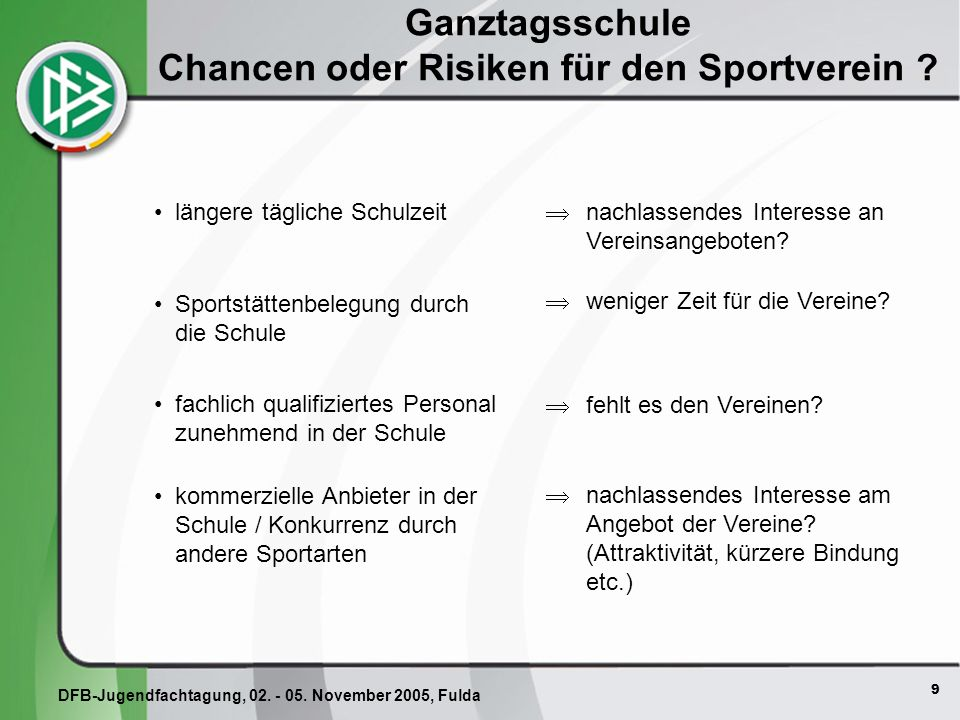 Ganztagsschule Chancen oder Risiken für den Sportverein