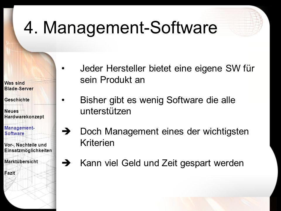 4. Management-Software Jeder Hersteller bietet eine eigene SW für sein Produkt an. Bisher gibt es wenig Software die alle unterstützen.