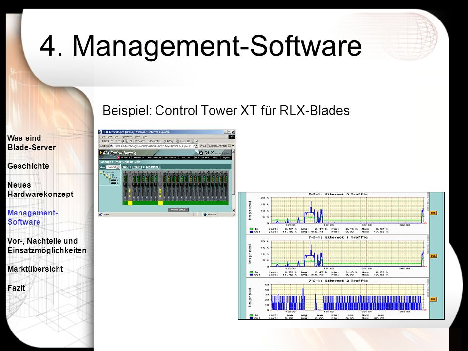 4. Management-Software Beispiel: Control Tower XT für RLX-Blades
