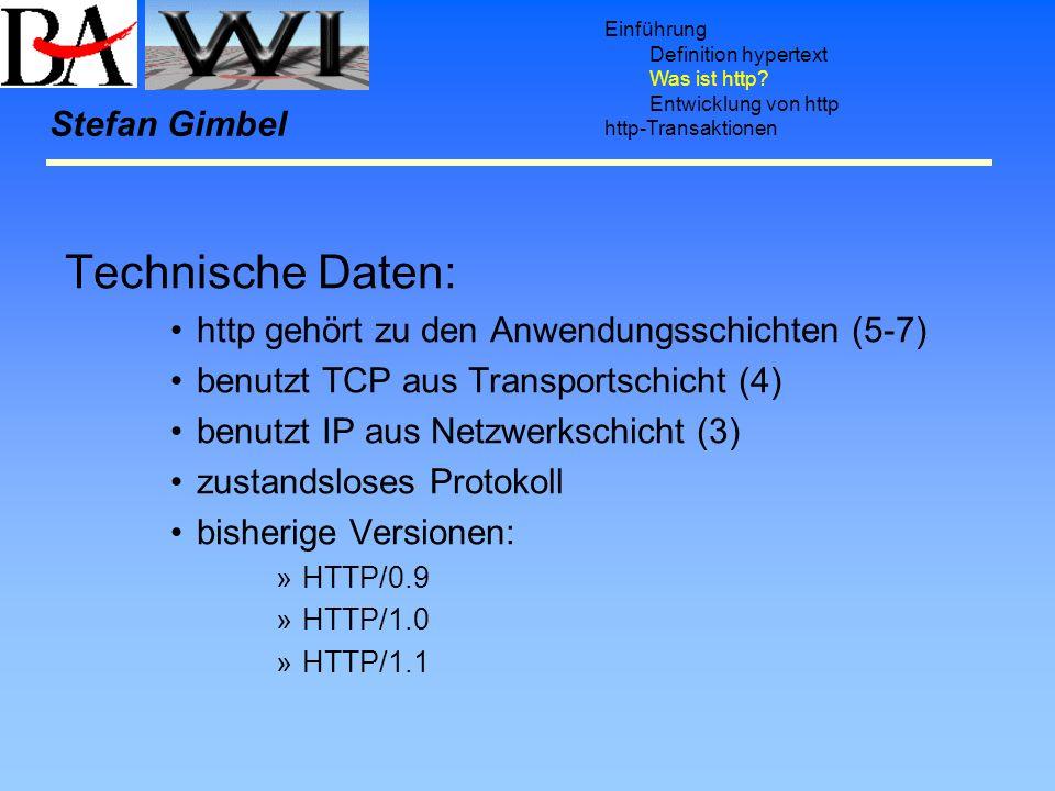 Technische Daten: Stefan Gimbel