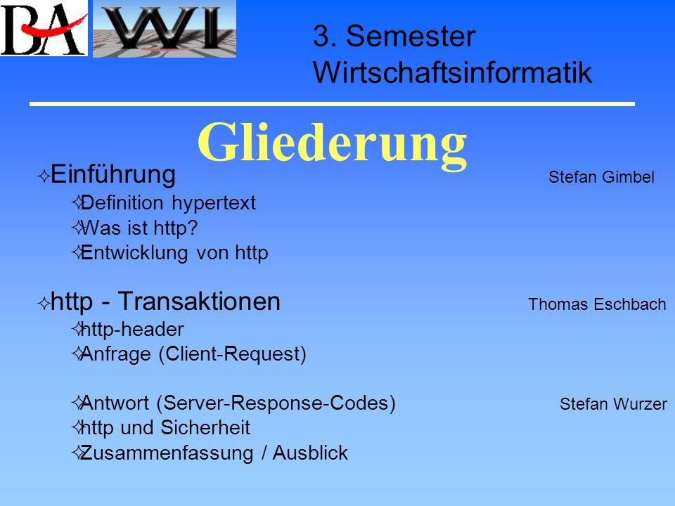 Gliederung 3. Semester Wirtschaftsinformatik Definition hypertext