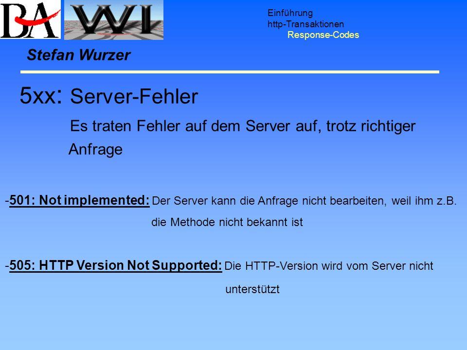 Einführung http-Transaktionen. Response-Codes. Stefan Wurzer. 5xx: Server-Fehler. Es traten Fehler auf dem Server auf, trotz richtiger.