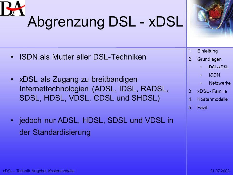 Abgrenzung DSL - xDSL ISDN als Mutter aller DSL-Techniken