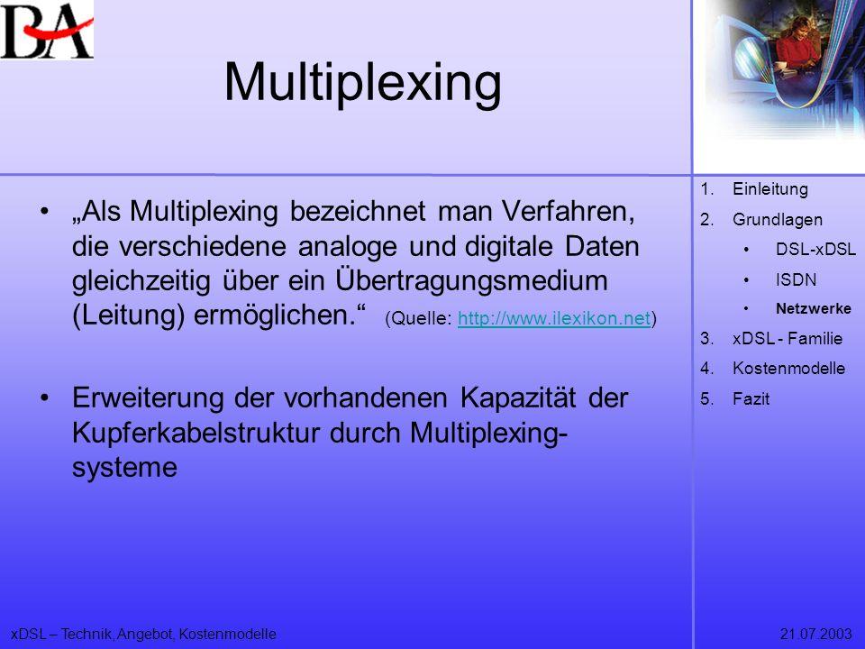 Multiplexing Einleitung. Grundlagen. DSL-xDSL. ISDN. Netzwerke. xDSL - Familie. Kostenmodelle.