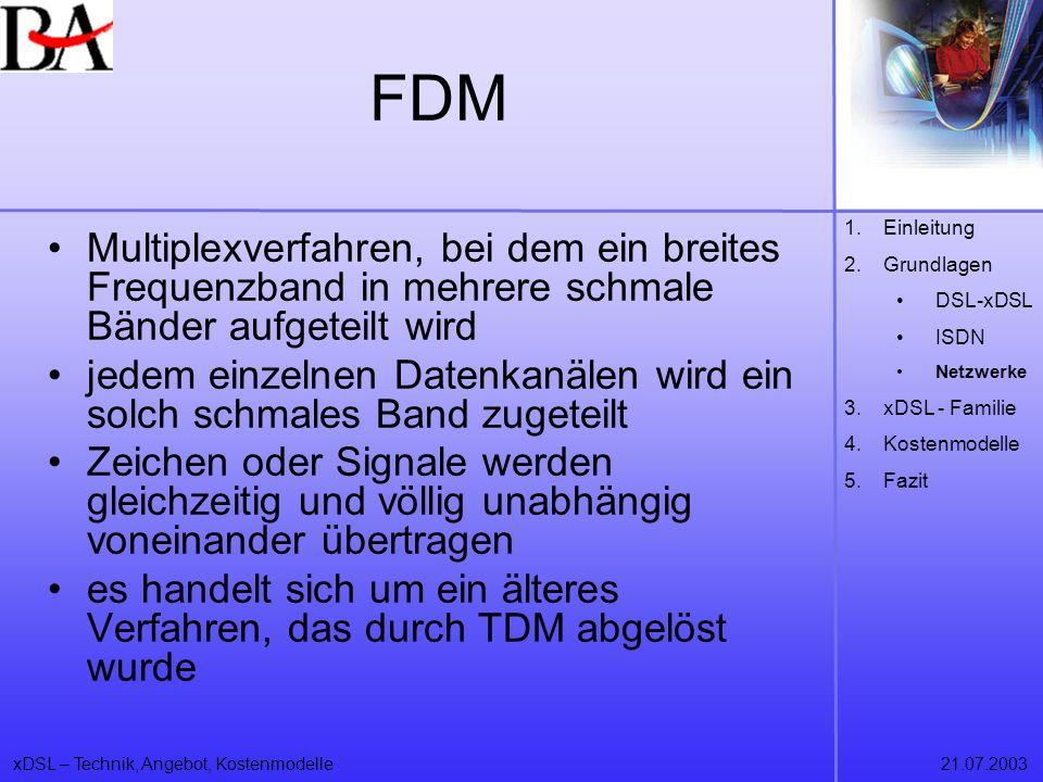 FDM Einleitung. Grundlagen. DSL-xDSL. ISDN. Netzwerke. xDSL - Familie. Kostenmodelle. Fazit.