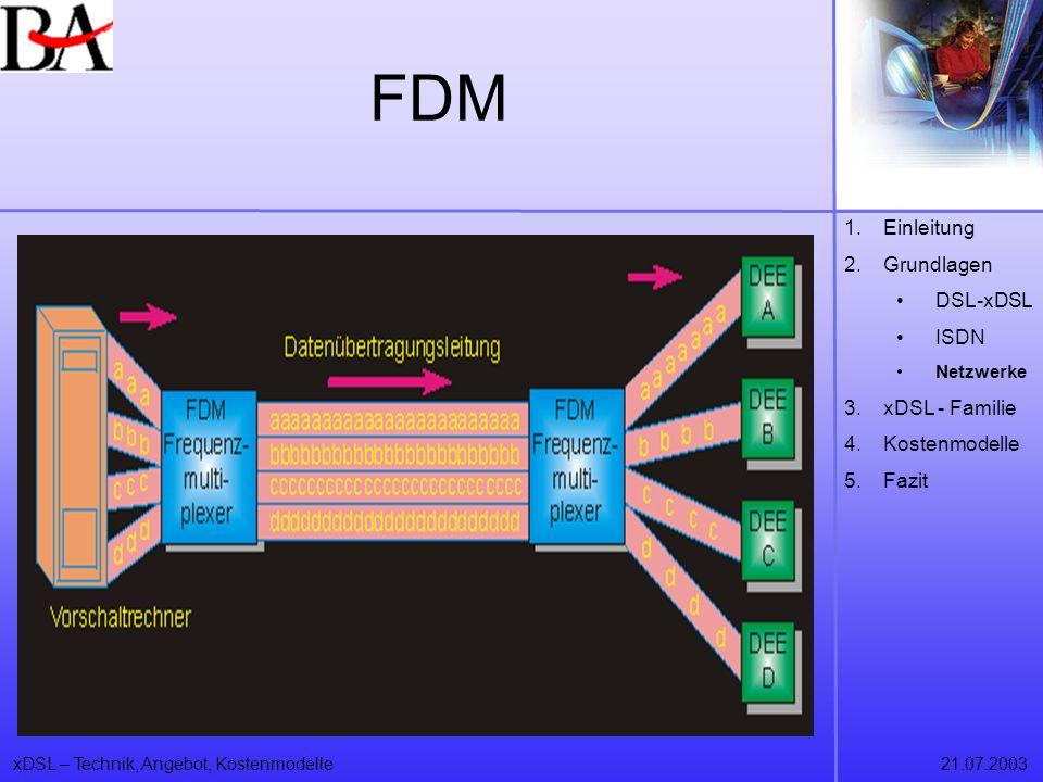 FDM Einleitung Grundlagen DSL-xDSL ISDN xDSL - Familie Kostenmodelle
