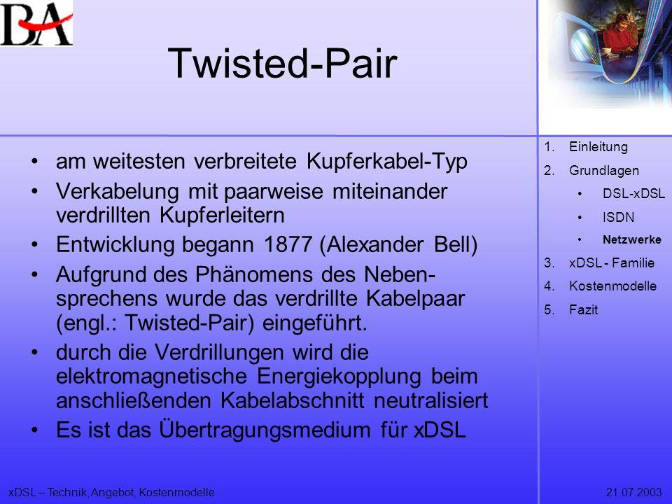Twisted-Pair am weitesten verbreitete Kupferkabel-Typ
