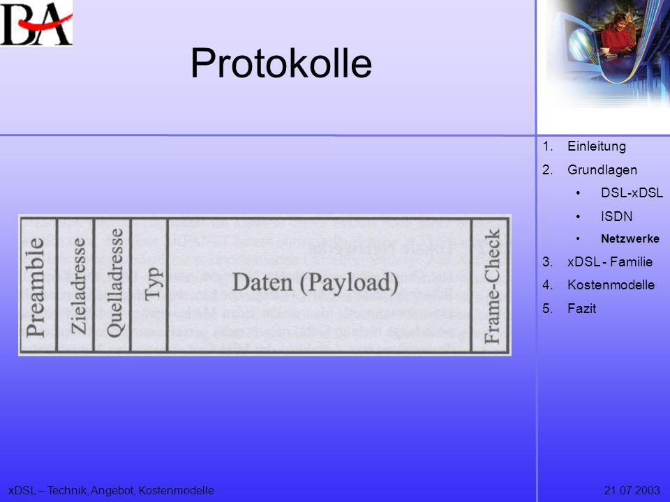 Protokolle Einleitung Grundlagen DSL-xDSL ISDN xDSL - Familie