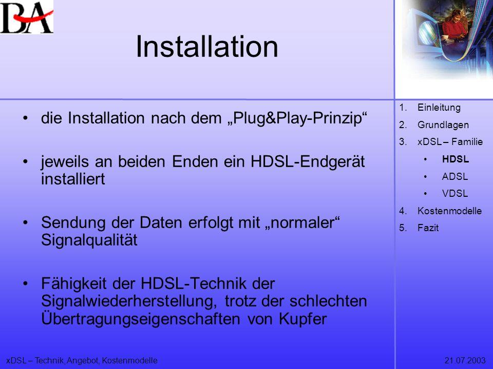 """Installation die Installation nach dem """"Plug&Play-Prinzip"""