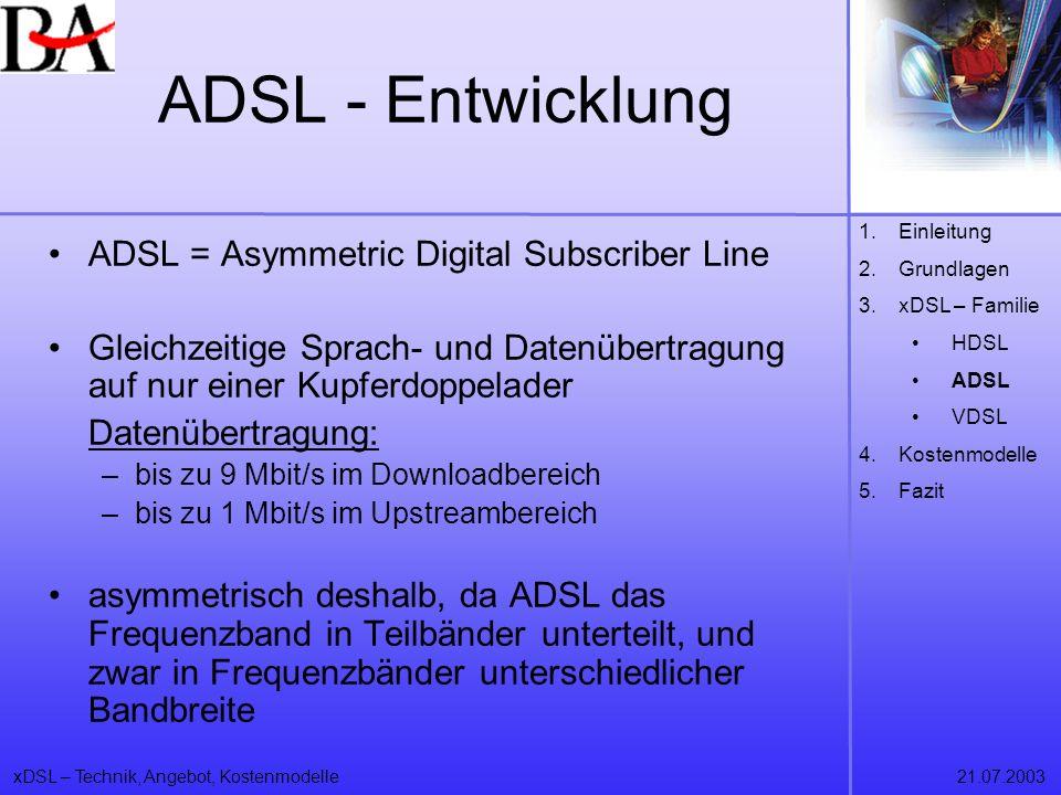 ADSL - Entwicklung ADSL = Asymmetric Digital Subscriber Line