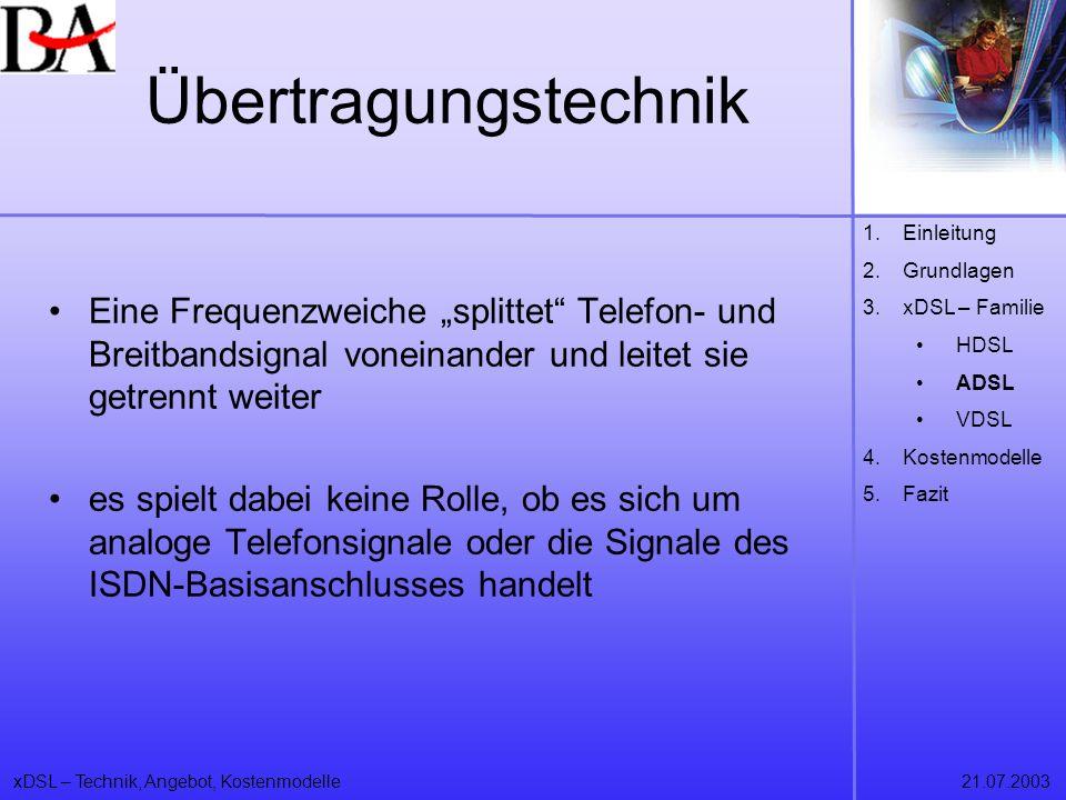 Übertragungstechnik Einleitung. Grundlagen. xDSL – Familie. HDSL. ADSL. VDSL. Kostenmodelle. Fazit.