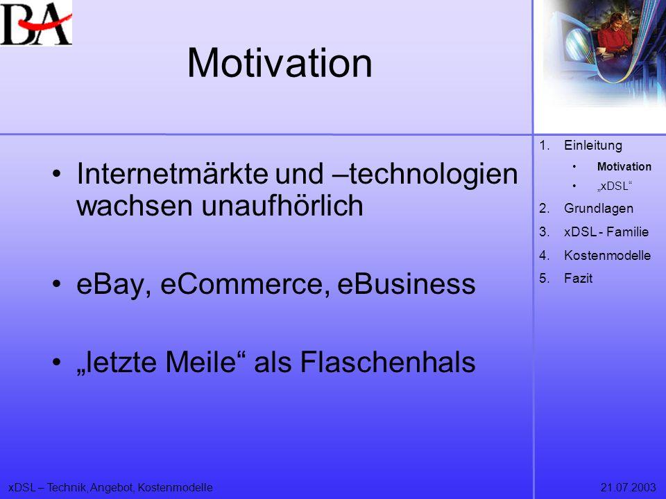Motivation Internetmärkte und –technologien wachsen unaufhörlich