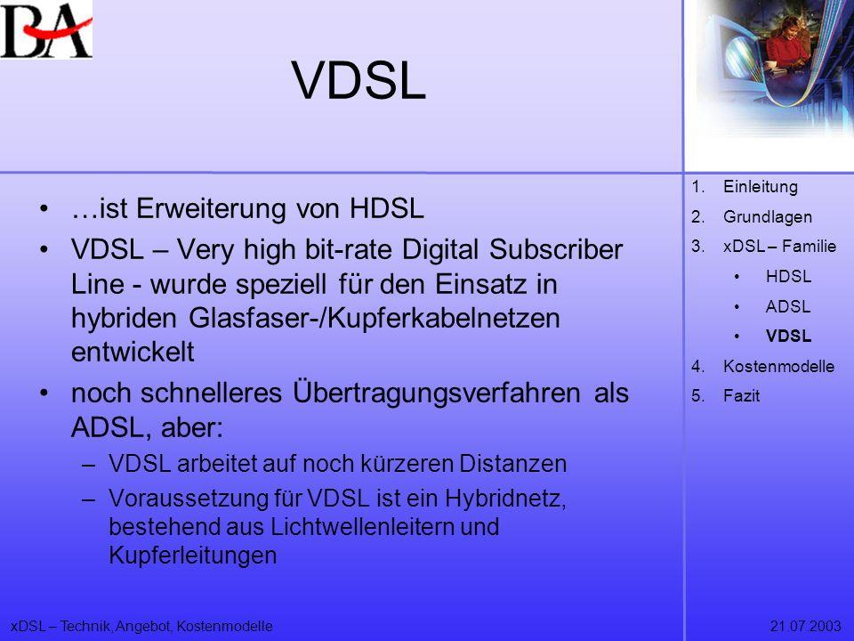 VDSL …ist Erweiterung von HDSL