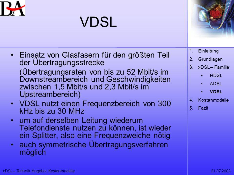 VDSL Einleitung. Grundlagen. xDSL – Familie. HDSL. ADSL. VDSL. Kostenmodelle. Fazit.