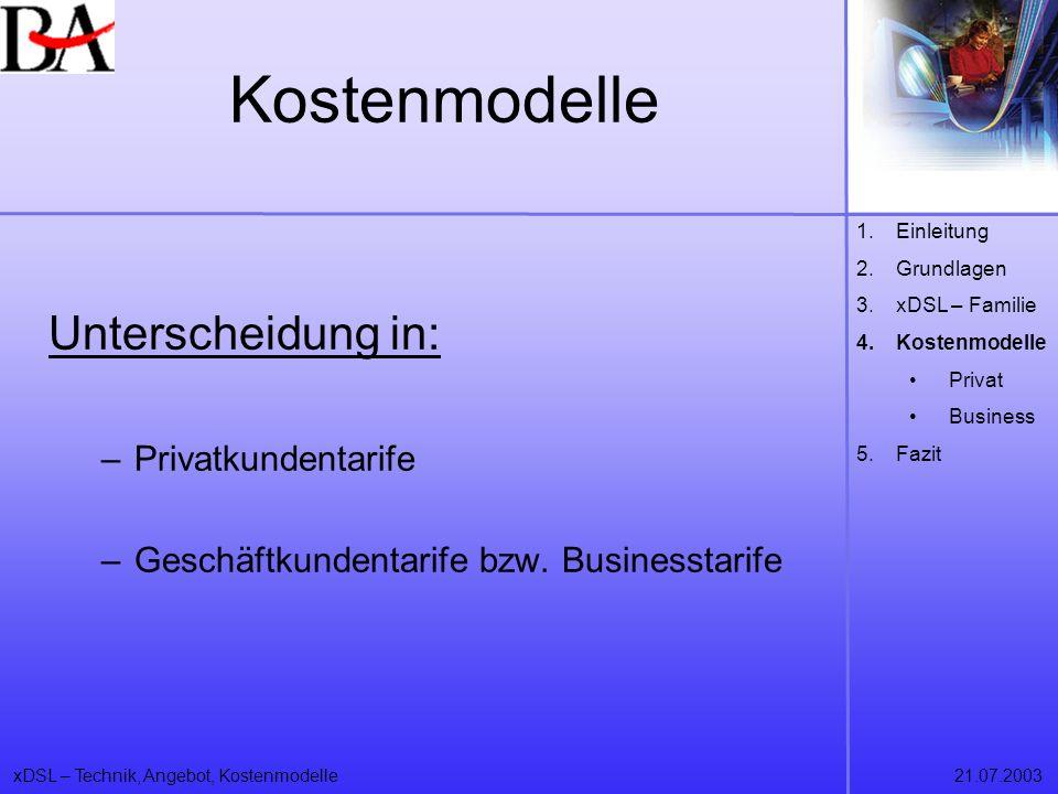 Kostenmodelle Unterscheidung in: Privatkundentarife
