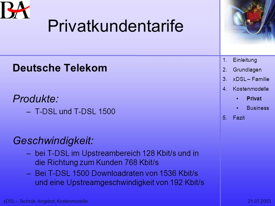 Privatkundentarife Deutsche Telekom Produkte: Geschwindigkeit: