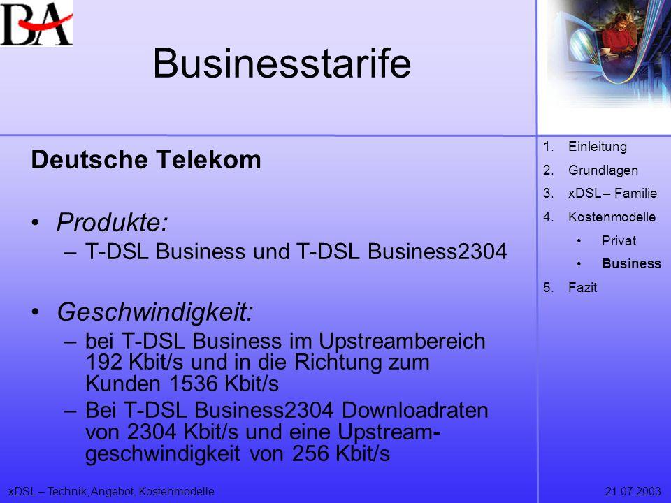 Businesstarife Deutsche Telekom Produkte: Geschwindigkeit:
