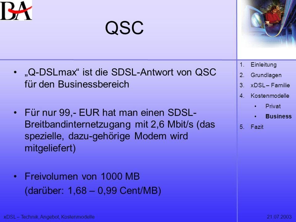 """QSC """"Q-DSLmax ist die SDSL-Antwort von QSC für den Businessbereich"""