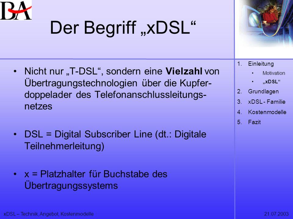 """Der Begriff """"xDSL Einleitung. Motivation. """"xDSL Grundlagen. xDSL - Familie. Kostenmodelle. Fazit."""