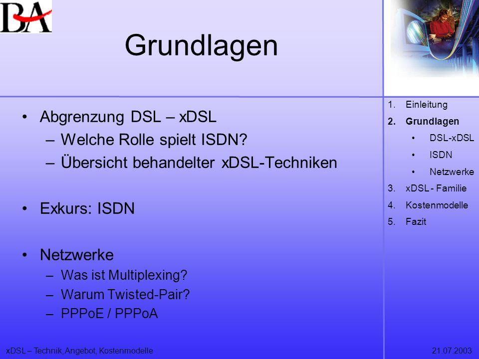 Grundlagen Abgrenzung DSL – xDSL Welche Rolle spielt ISDN