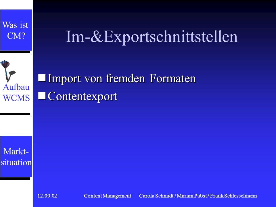 Im-&Exportschnittstellen