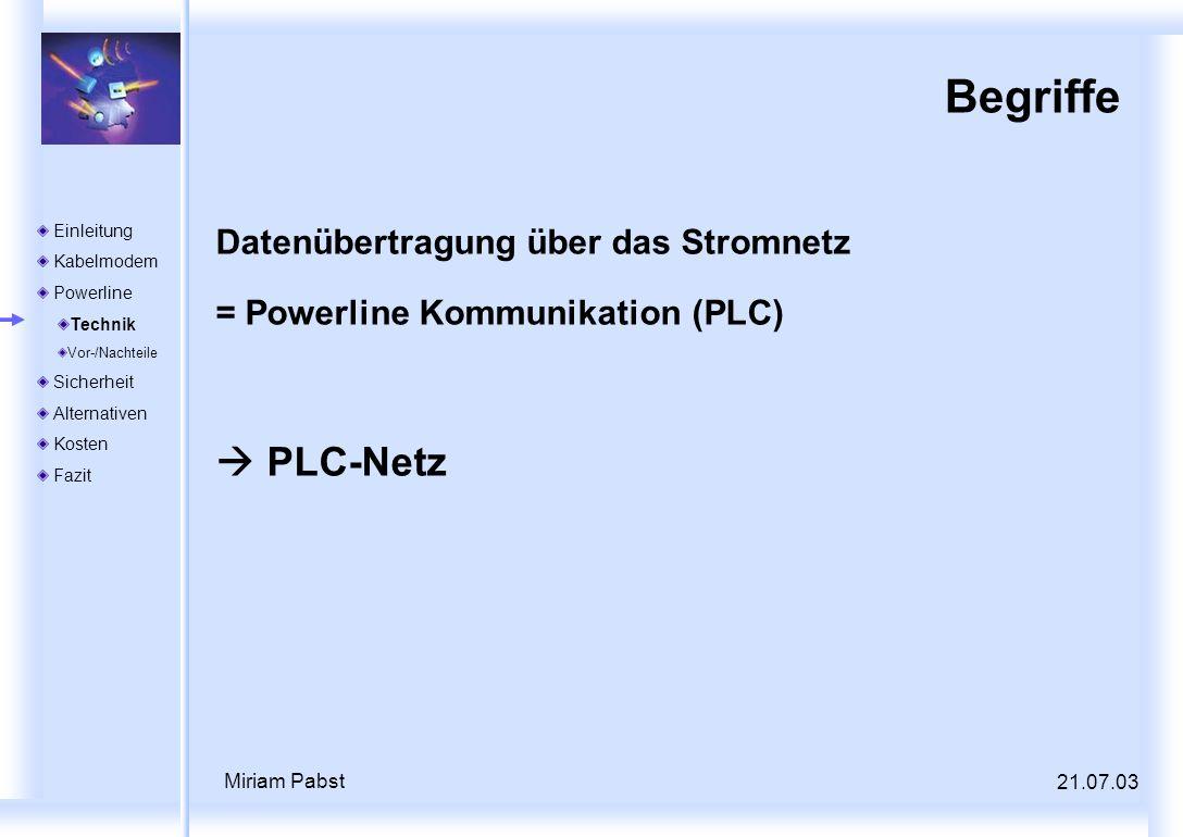 Begriffe  PLC-Netz Datenübertragung über das Stromnetz