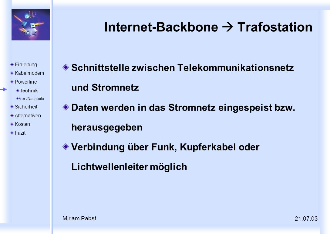 Internet-Backbone  Trafostation