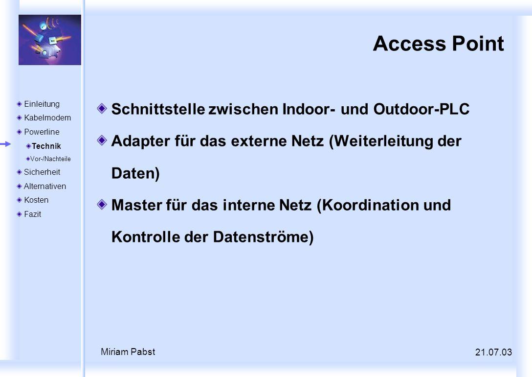 Access Point Schnittstelle zwischen Indoor- und Outdoor-PLC